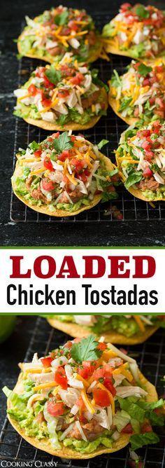 Chicken Guacamole and Bean Tostadas