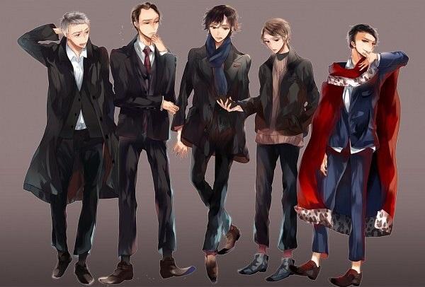Gregory Lestrade, Mycroft Holmes, Sherlock Holmes, Dr. John Watson, James Moriarty