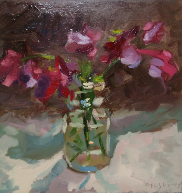 Oils on panel alla prima daily still life study painting of pink and purple sweetpea flowers