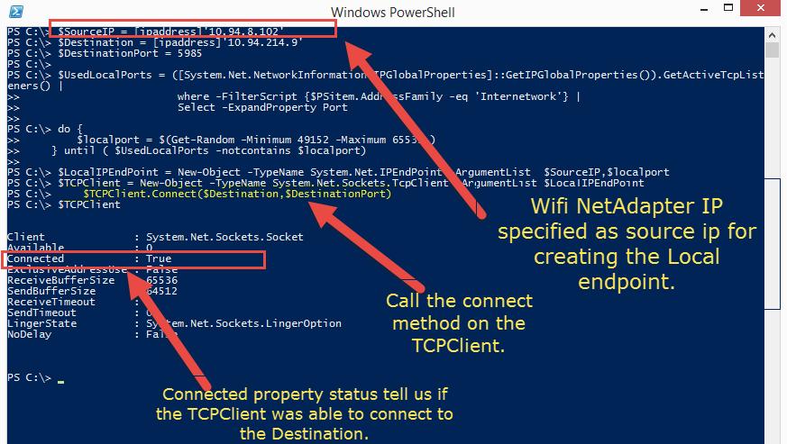 DexterPOSH's Blog: Test connectivity via a specific network interface