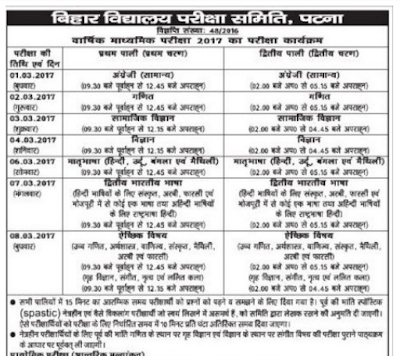 Bihar Matric Time Table 2017