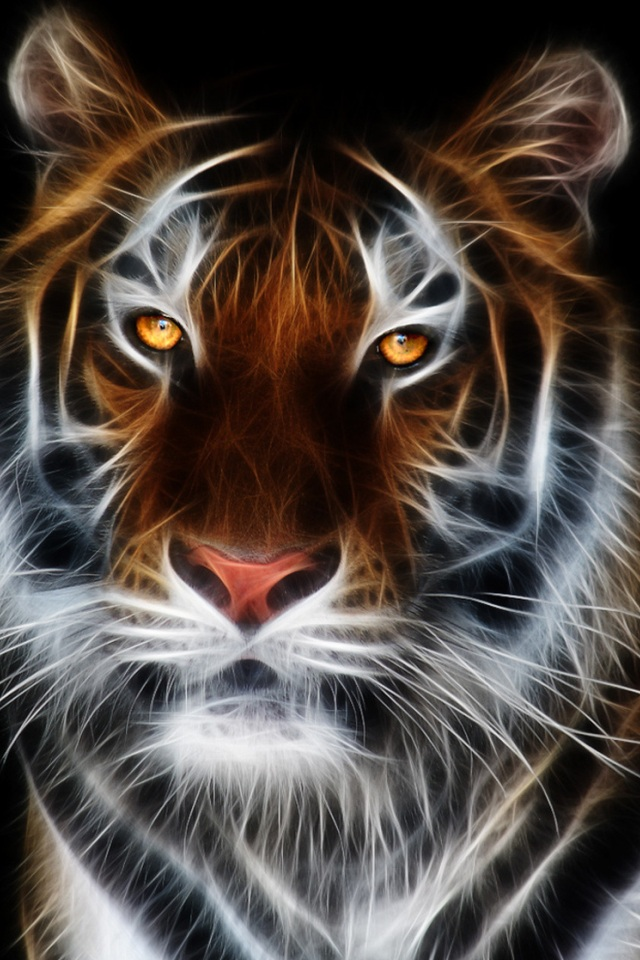 Wonderful 3D Tiger Wallpaper for iPhone 4