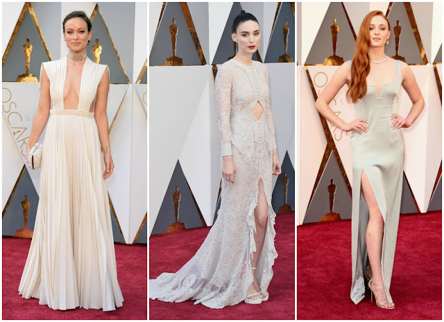 olivia wilde, rooney mara, sophie turner, red carpet, 2016 oscars, academy awards, white trend