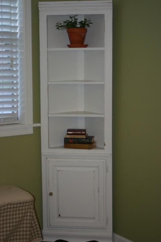 Charming Creations: White Distressed Corner Shelf/ Cabinet ...