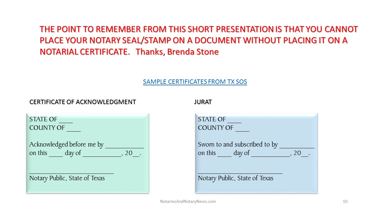 Don't Notarize Without A Certificate The Best Texas Notary