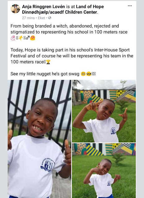 Photos: Years after he was branded a witch, abandoned and stigmatized, little Hope represents his school in 100 meters race