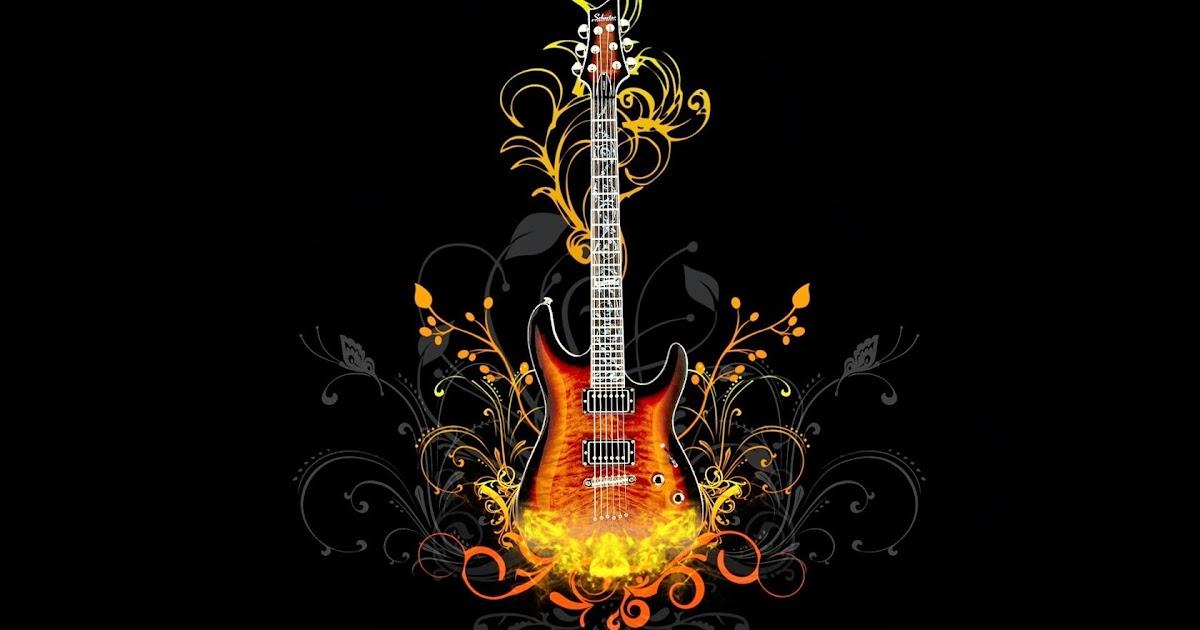 Fondo De Pantalla Abstracto Bolas Azules: Fondo De Pantalla Abstracto Guitarra De Fuego