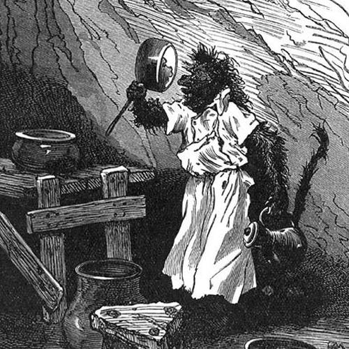 Dibujo de Jupo en la cocina. Autor: Jules-Descartes Férat.