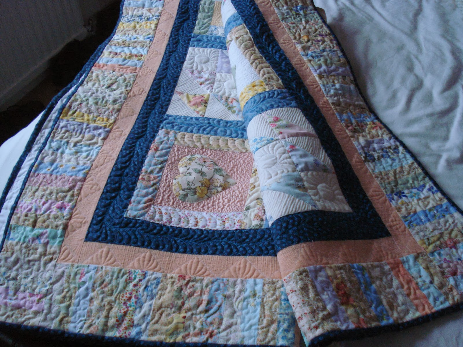 The Nifty Stitcher Frame Quilting Floral Hearts Quilt