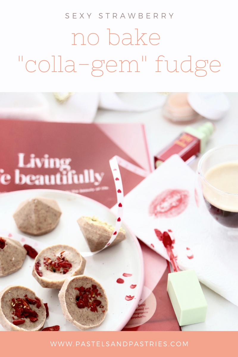 5 ingredient healthy collagen strawberry freezer fudge recipe with sex dust