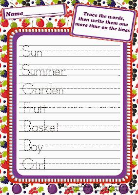 fruit berries handwriting worksheet for esl