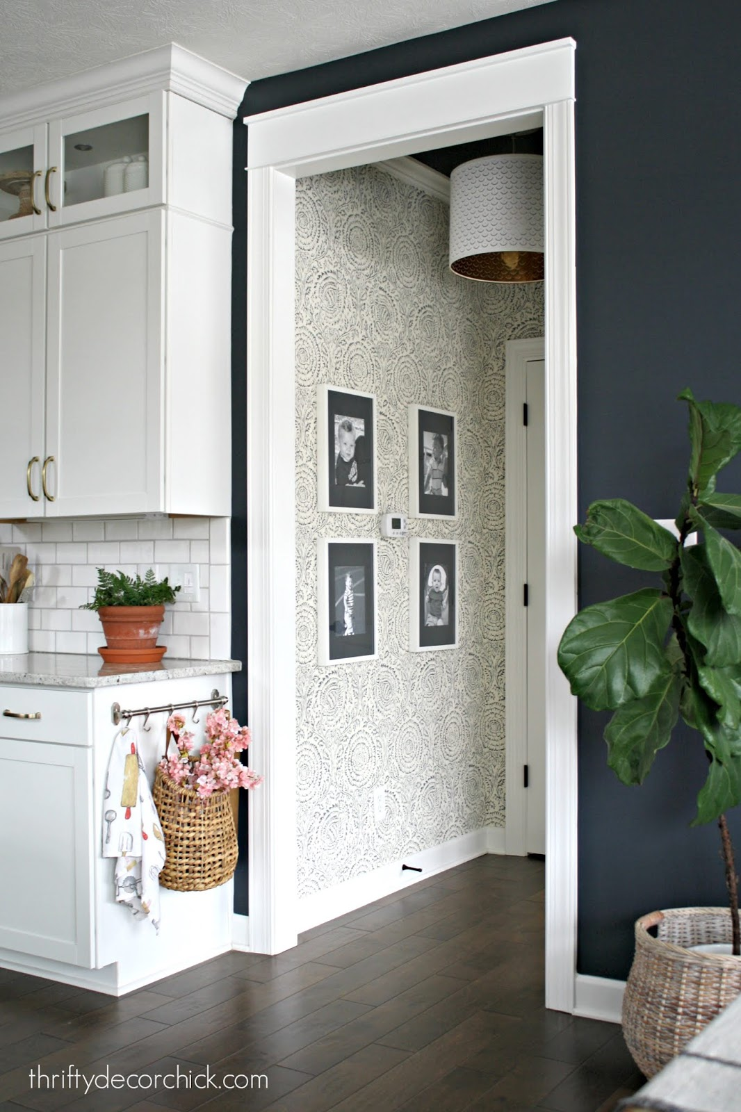 Kamala Baker Lifestyle indigo wallpaper in hallway