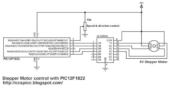 Unipolar stepper motor control with PIC12F1822 circuit