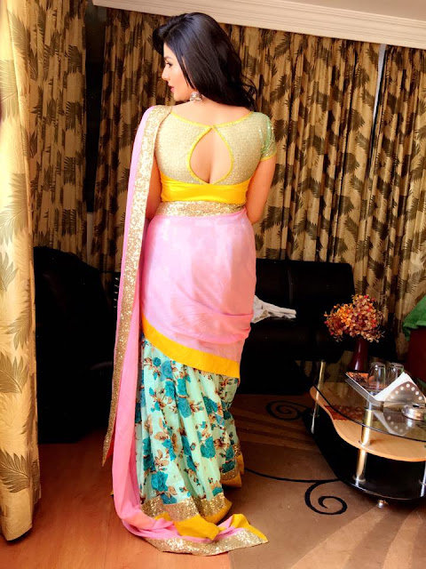 Srimukhi in Floral Half Saree