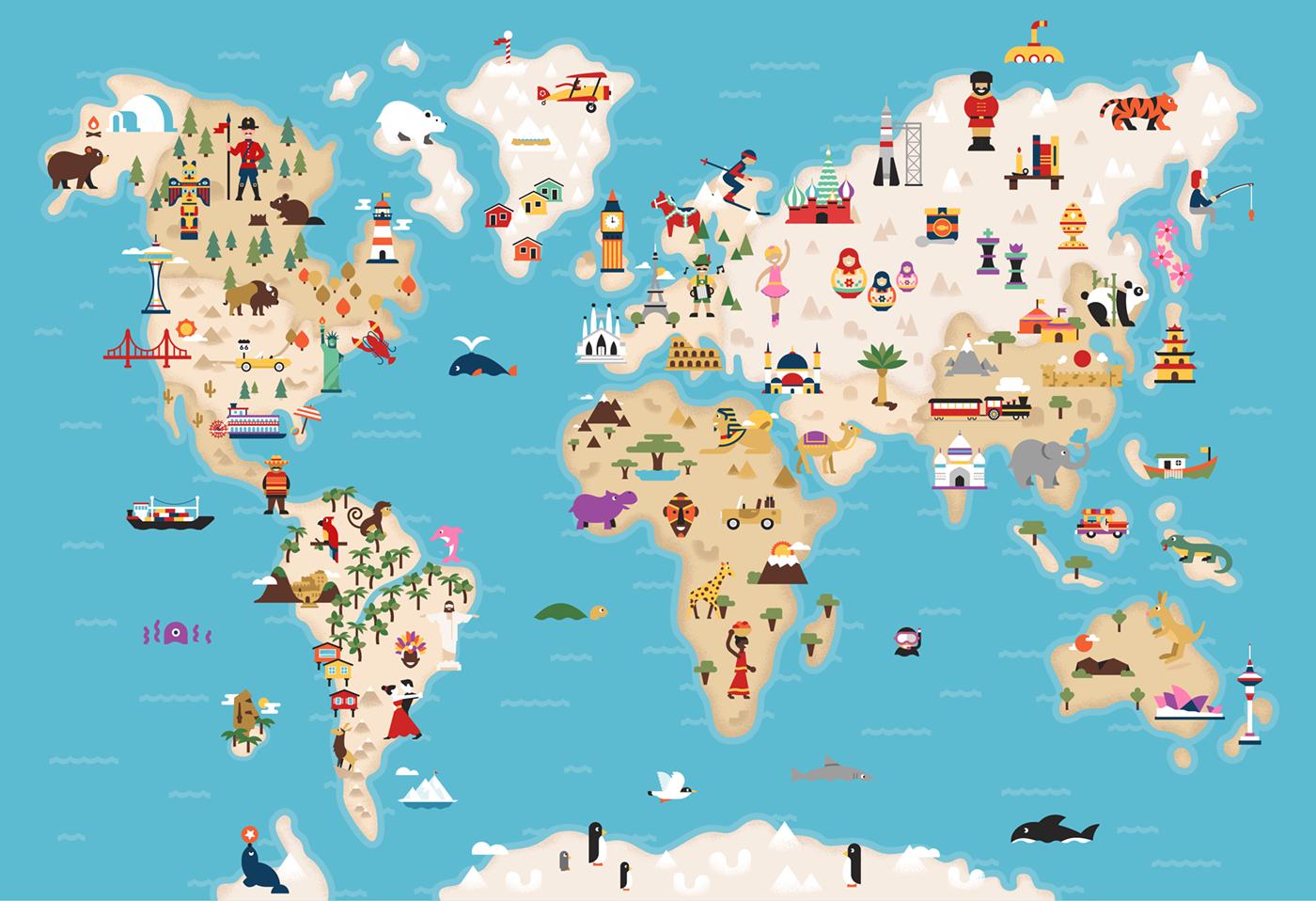Ilustrasi Desain Peta Dunia yang Kreatif
