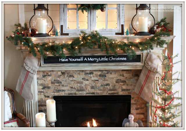Grain sack stockings-Christmas Mantel 2015-From My Front Porch To Yours