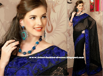 MODEL IN BLACK COLOUR AND  BLUE FRENCH LACE SAREE
