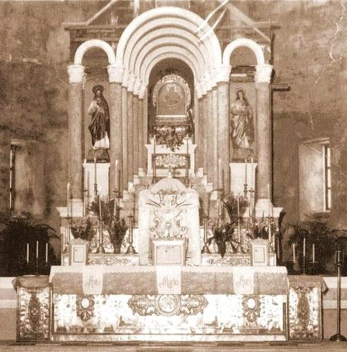 Old altar of Our Lady of the Most Holy Rosary, Queen of Caracol Church in Rosario, Cavite