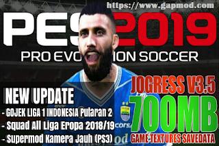Download Data Mod PES Jogress v3.5 Gojek 1 Indonesia League & All Eropa 2018