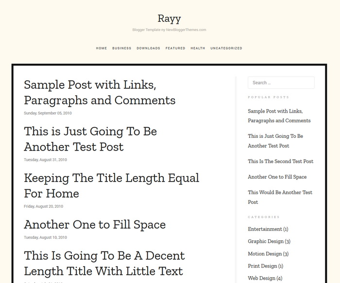 Rayy Blogger Template