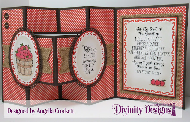 Divinity Designs: Fruit of the Spirit, Half-Shutter Card with Layers Dies, Ornate Ovals Dies, Ovals Dies, Sewing Kit Dies, Lavish Layers Dies, Old Glory Paper Collection, Card Designer Angie Crockett