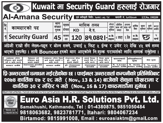 Jobs in Kuwait for Nepali, Salary Rs 41,042