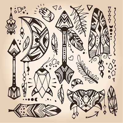 Free vector set of boho doodles in a eps and png formats by Elena Voynova