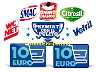 Logo ''Ricompensati con il pulito'' : vinci 375 buoni spesa da 10€ con Vetril, WcNet, Omino Bianco e...
