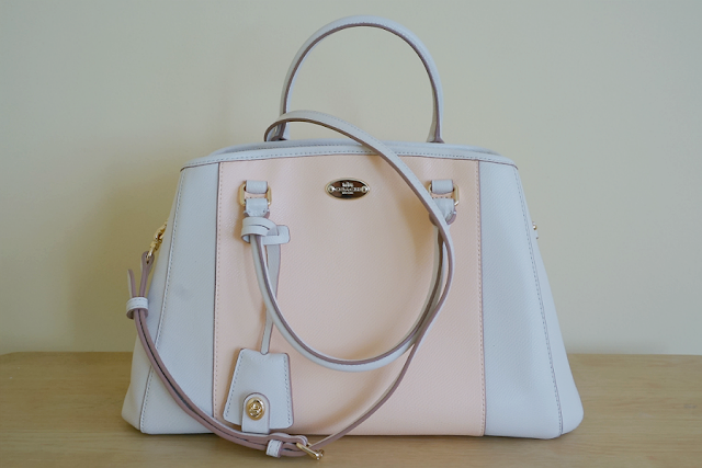 COACH Margot Carryall Handbag in Bicolor Crossgrain Leather