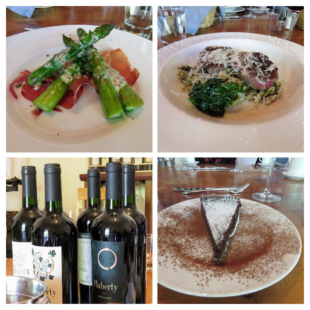 Day trips from Santiago: collage of a 3-course meal served at Flaherty Wines in the Aconcagua Valley