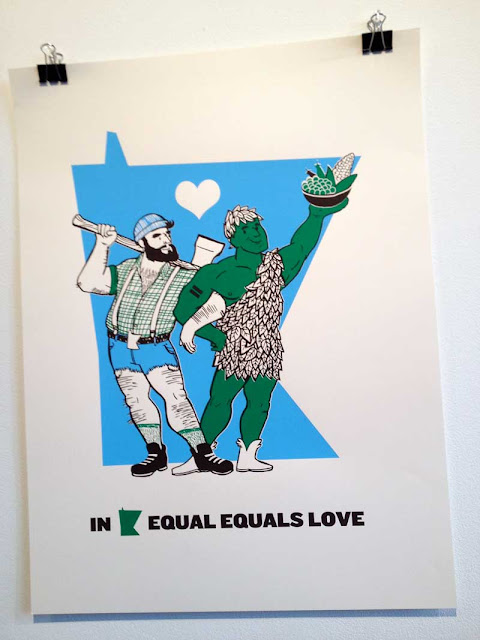 Illustrated poster showing Paul Bunyan dancing arm-in-arm with the Jolly Green Giant