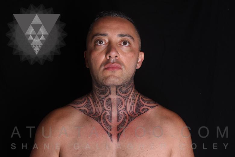 Atua Tattoo: MAORI THROAT & NECK TATTOO, TA MOKO