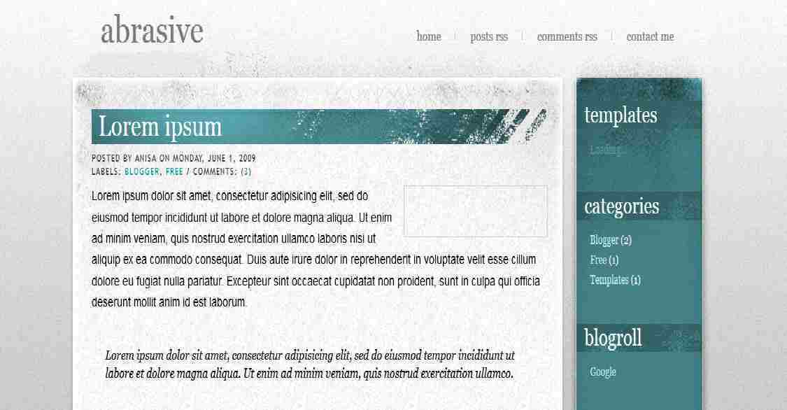 Abrasive - Personal Blogger Template - simple blog