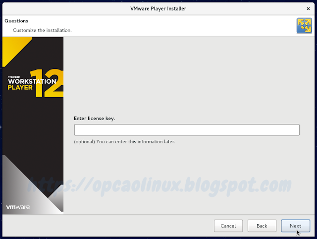 Insira a licença do VMware Workstation Player (caso possua)