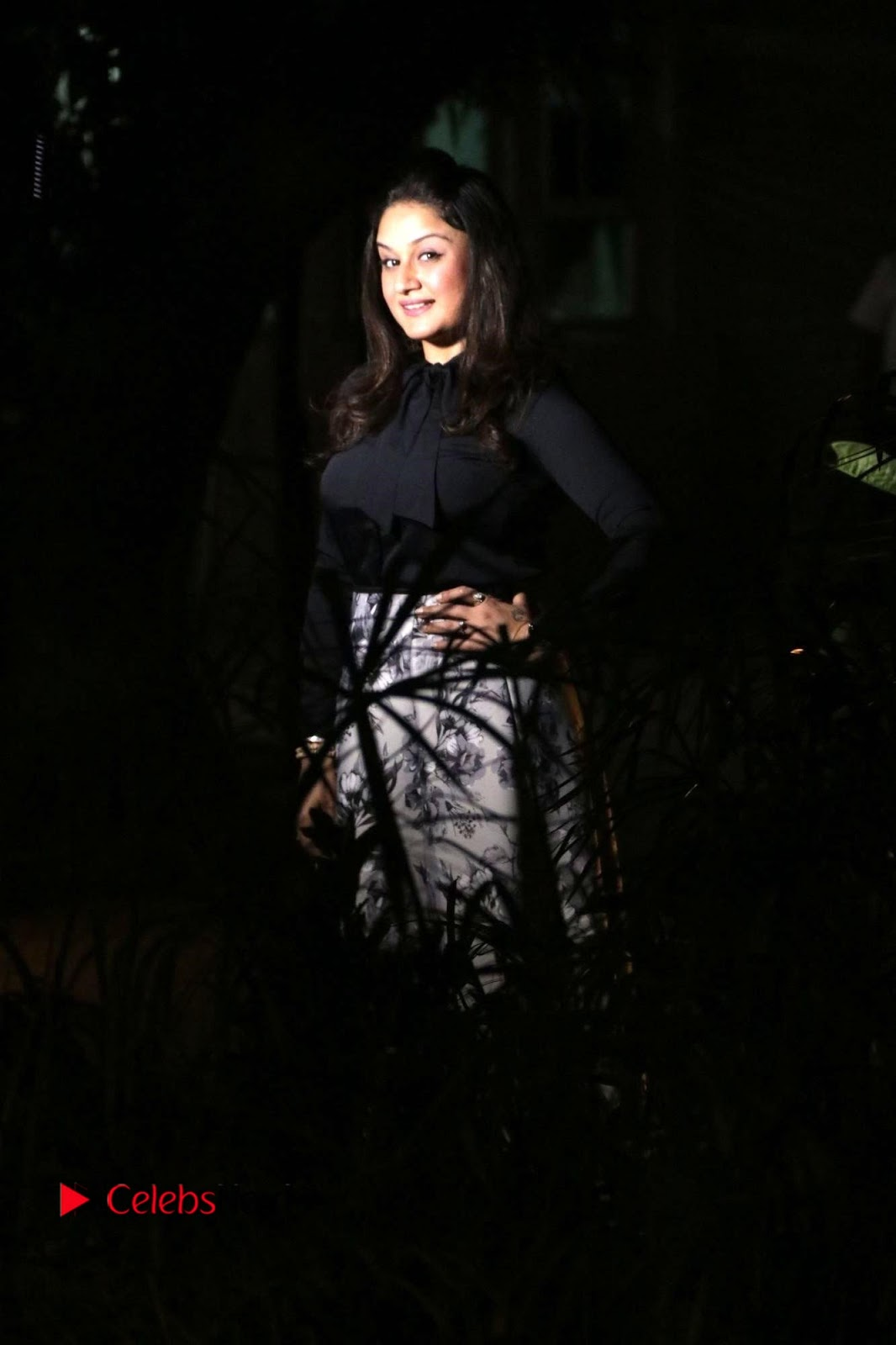 Sonia Agarwal Stills in Black Top at Yevanavan Tamil Movie Audio Launch Event