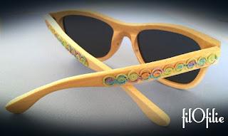 frivolité, dentelle aux navettes, sur lunettes de soleil
