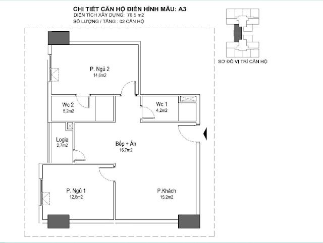 căn hộ A3 76m, tòa Park 1 2 3 Eurowindown Đông Trù