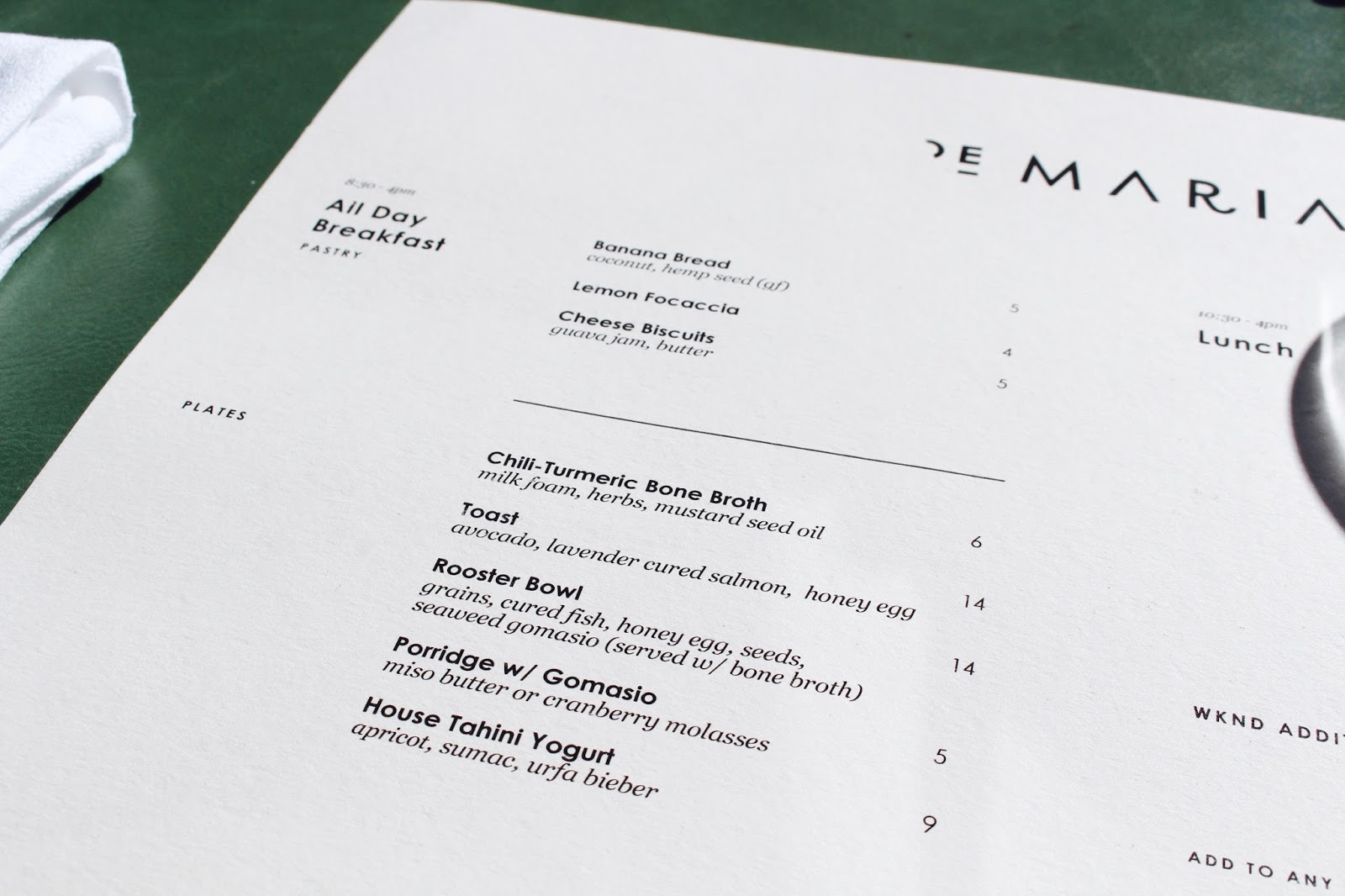 De Maria NYC Menu | New York Kenmare St