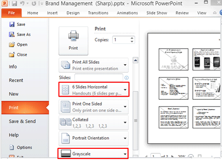 PowerPoint 2010 Print Options