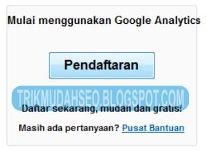klik tombol pendaftaran untuk mendapatkan akun Google Analytics