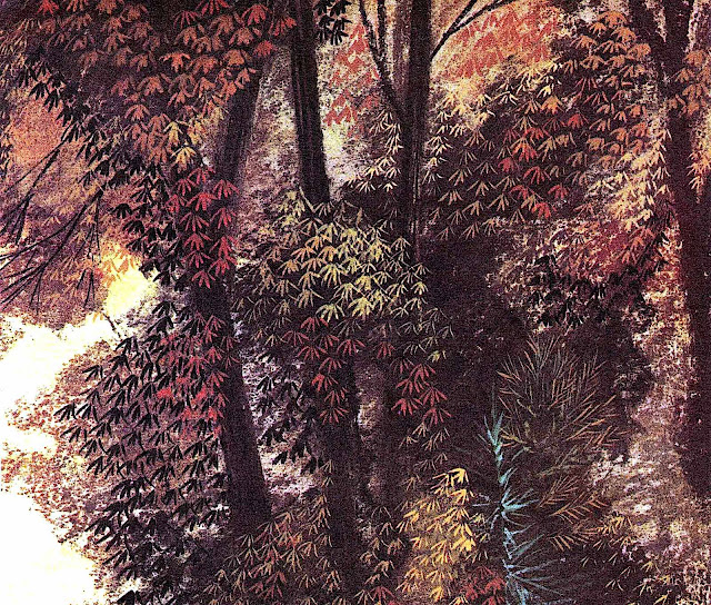 a Leonard Weisgard book illustration of autumn leaves in a forest