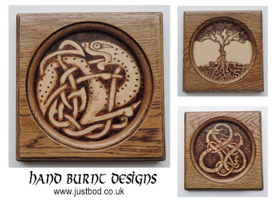 Hand burnt Celtic plaques