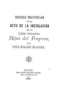 Imagen de la portada del Discurso pronunciado en el acto de la Instalación de la logia Hijas del Progres