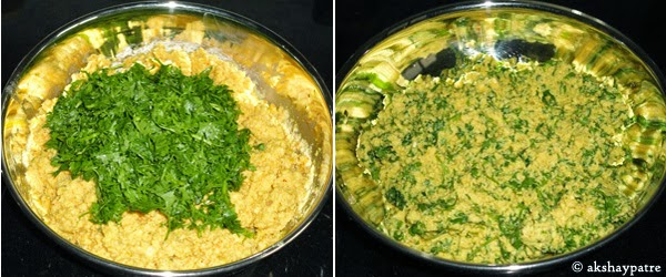 cilantro added and mixed to make Kothimbir Vadi