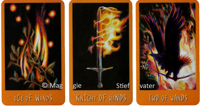 Raven's Prophecy Tarot Ace of Wands Knight of Wands Two of Wands