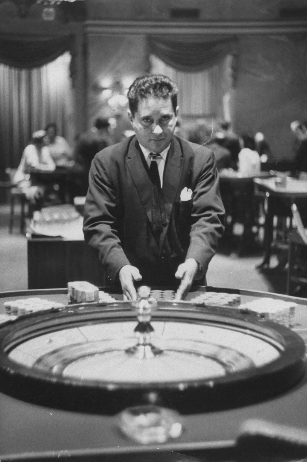 Roulette dealer at the National Casino. 1958.