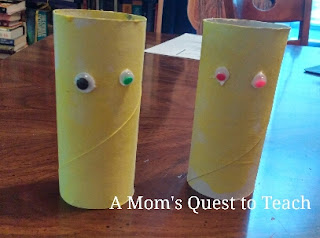 Toilet paper rolls with eyes for kids craft