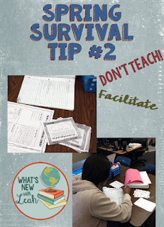 Are you ready for my second-to-last spring survival tip for teachers? Here it is: Don't teach; facilitate. Students are done at this point in the year, being so close to summertime. Don't fight the battle of trying to teach new content, even if it's a short 10-minute lecture. Instead, facilitate interactive activities that engage students. Read more in this post.