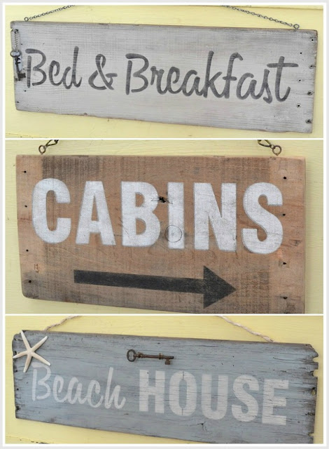 rustic hanging signs made out of an old crate