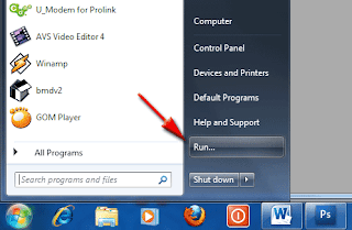 Display the RUN menu in Windows 7